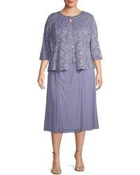 Alex Evenings Plus 2-piece Lace Tea-length Dress & Jacket Set - Purple