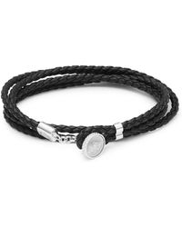 Tateossian - Sterling Silver And Leather Double Wrap Bracelet - Lyst