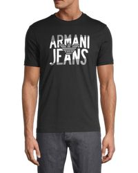 Armani Jeans Logo Cotton Tee - Black