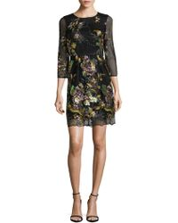 Belle By Badgley Mischka - Floral Embroidered Dress - Lyst