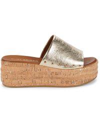 Kurt Geiger Women's Monica Metallic Leather Platform Sandals - Gold - Size 7.5