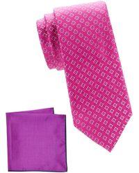 Ted Baker 2-piece Tie & Pocket Square Set - Pink