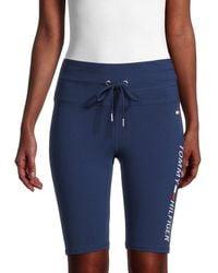 Tommy Hilfiger - Women's High-rise Logo Shorts - Deep Blue - Size S - Lyst