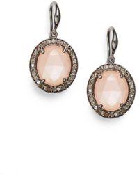 Bavna Men's Diamond, Peach Moonstone & Sterling Silver Earrings - Peach - Metallic