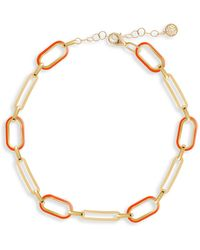 Gabi Rielle Soft Serve Neon Orange 14k Yellow Goldplated Enamel Box Chain Anklet - Multicolour