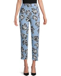 Ganni Leaf-print Cropped Pants - Blue