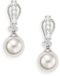 Majorica Ophol 12mm White Round Pearl & Glitz Sterling Silver Clip Drop Earrings - Metallic