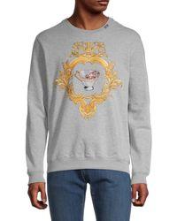 Versace Men's Embroidered Crewneck Sweatshirt - Light Gray - Size Xxxl