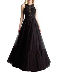 Basix Black Label Sleeveless Tulle Gown - Black
