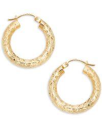 Saks Fifth Avenue 14k Yellow Gold Round Tube Hoop Earrings - Metallic