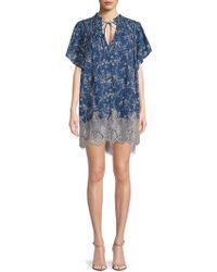 Free People - Marigold Lace-hem Cotton Shift Dress - Lyst
