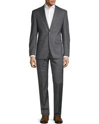 Calvin Klein Slim-fit Windowpane Check Suit - Grey