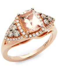 Le Vian 14k Strawberry Peach Morganite Vanilla Diamonds And Chocolate Diamonds Square Chocolatier Ring - Multicolour