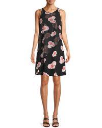 Tommy Hilfiger Women's Floral-print Sleeveless Dress - Black - Size 2