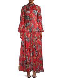 Dolce & Gabbana Tieneck Zebra & Lemon-print Sheer Silk Jumpsuit - Red