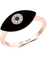 Effy 14k Rose Gold, Black Onyx, White & Black Diamond Evil Eye Ring