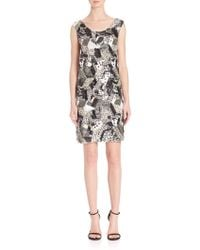Laundry by Shelli Segal - Platinum Geometric Sequin Beaded Dress - Lyst