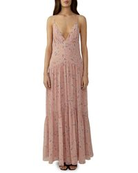 Fame & Partners Women's Floral-print Chiffon Maxi Dress - Cherry Blossom - Size 2 - Multicolour