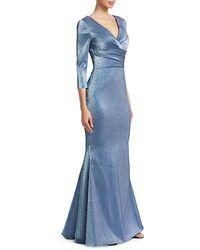 THEIA Wrap Bodice Metallic Trumpet Gown - Blue