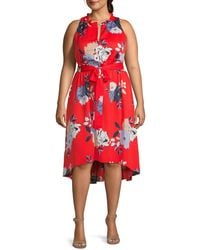 RACHEL Rachel Roy Plus Floral-print High-low Dress - Red