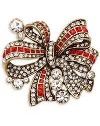 Heidi Daus - Bow Crystal-embellished Pin - Lyst