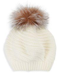 Surell Knit Fox Fur Pom-pom Beanie - Black