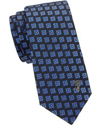 Versace Geometric Silk Tie - Blue