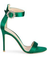 Gianvito Rossi Embellished Satin Ankle-strap Sandals - Purple