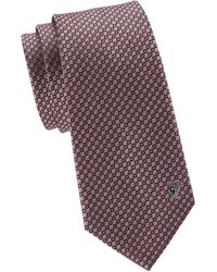 Versace Geometric Silk Tie - Purple
