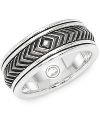 Effy Sterling Silver Engraved Band Ring - Metallic