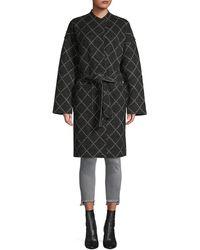 Joie Shaurya Windowpane Check Wrap Coat - Black
