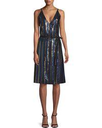 Robert Rodriguez Sequin Wrap Dress - Black