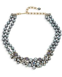 Heidi Daus Crystal Double-strand Floral Necklace - Black