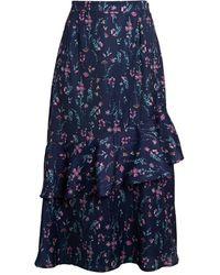 Ava & Aiden Women's Asymmetrical Ruffle Skirt - Blue Floral - Size M