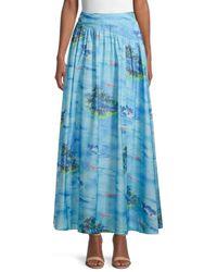 STAUD Kona Island-print Maxi Skirt - Blue