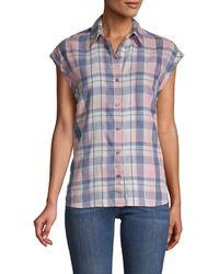 Saks Fifth Avenue Plaid Short-sleeve Shirt - Blue