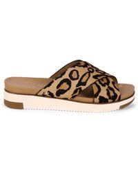 Sam Edelman Women's Audrea Leopard-print Crossband Shearling Slides - Tan - Size 6 Sandals - Brown