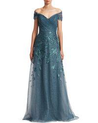 Teri Jon Off-the-shoulder Embellished Tulle Gown - Blue