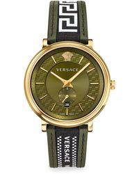 Versace V Circle Greca Edition Two-tone Chronograph Watch - Metallic