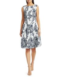 Oscar de la Renta Sleeveless Floral Fit-&-flare Dress - Blue