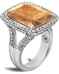 John Hardy Chain Sterling Silver, Sapphire & Diamond Ring - Metallic