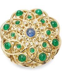 Temple St. Clair - Diamond, Emerald, Ruby, Sapphire And 18k Yellow Gold Mosaic Brooch - Lyst