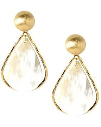Akola Cleo Goldtone & Horn Statement Earrings - Metallic