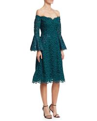 Teri Jon Off-the-shoulder Bell-sleeve Scalloped-lace Cocktail Dress - Blue