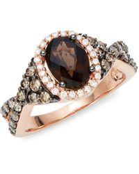 Le Vian 14k Strawberry Gold®, Chocolate Quartz®, Vanilla Diamonds® & Chocolate Diamonds® Ring - Metallic