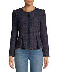 Rebecca Taylor Rainbow Tweed Peplum Jacket - Natural