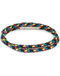 Tateossian Sterling Silver Braided Double Wrap Bracelet - Blue