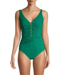 X By Gottex Ruched One-piece Swimsuit - Green