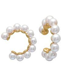 Gabi Rielle 22k Gold Vermeil & 4mm Freshwater Pearl Ear Cuffs - Metallic