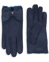 UGG Naveah Bow Shearling-trimmed Gloves - Blue